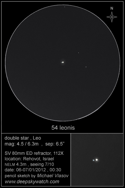 54 Leonis double star drawing, observing log