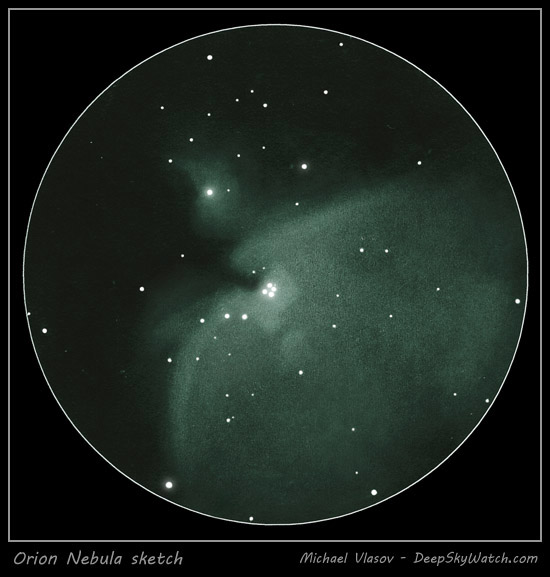 great orion nebula drawing - m42, m43