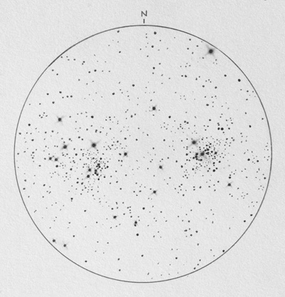 pencil drawiong of double cluster in perseus