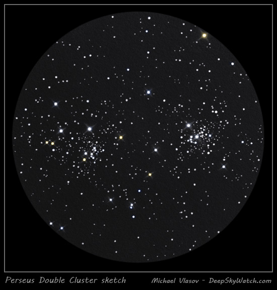 sketch of double cluster in perseus - ngc 884, ngc869