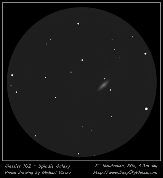 messier 102 (NGC5866) spindle galaxy drawing, observing log