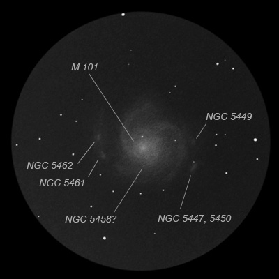 messier 101 - annotated image