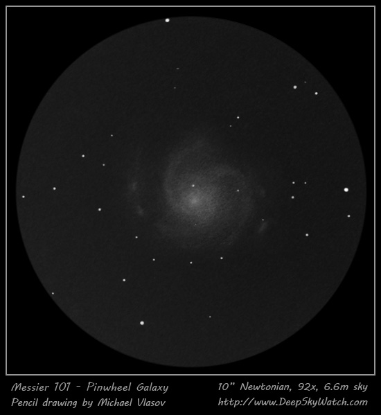 Sketch of Messier 101 - The Pinwheel Galaxy